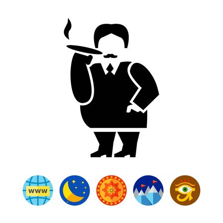 cigar smoking man: Rich Person Simple Icon Illustration