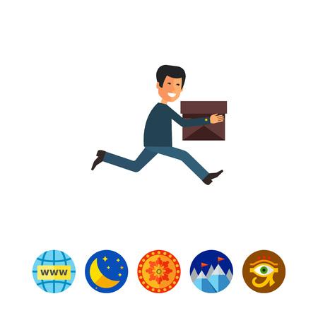running: Running delivery man icon Illustration