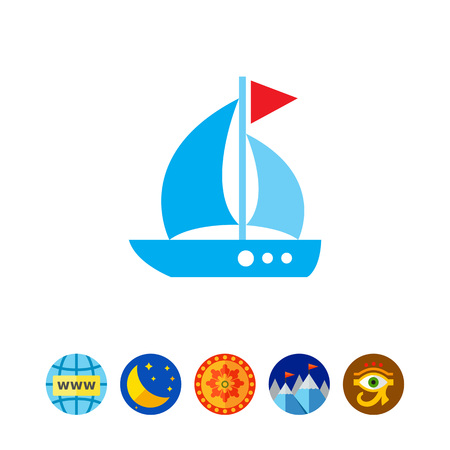 Icon of sailing ship with triangle flag