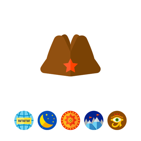 soviet union: Russian military garrison cap with star. Uniform, army, soldier. Headwear concept. Can be used for topics like fashion, clothing, armed forces, marketing.