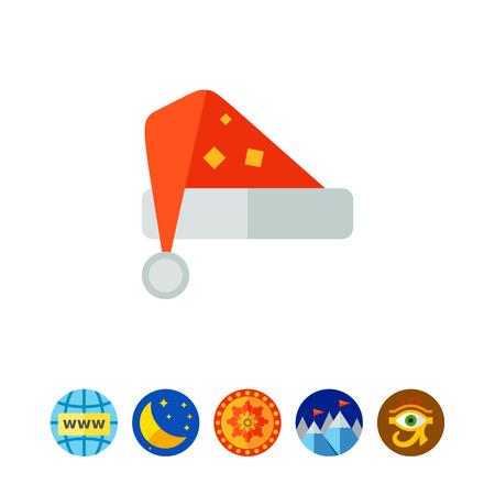 Multicolored vector icon of red Santa hat Illustration