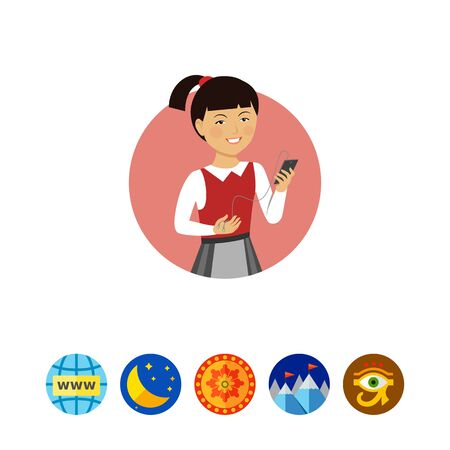 Female character, portrait of smiling Asian schoolgirl holding smartphone with headphones