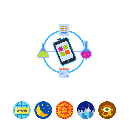 smartphone apps: Laboratory experiment. Science data, flasks, mobile phone, chemistry. Science data concept. Can be used for topics like science, chemistry, experiments