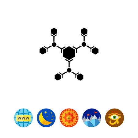 Monochrome vector icon of molecular structure representing science concept