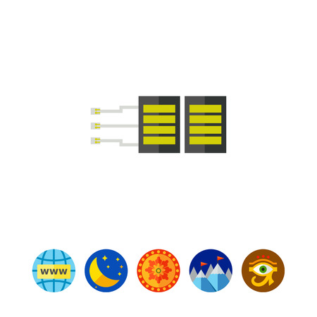 Server with Cables and Plugs Icon