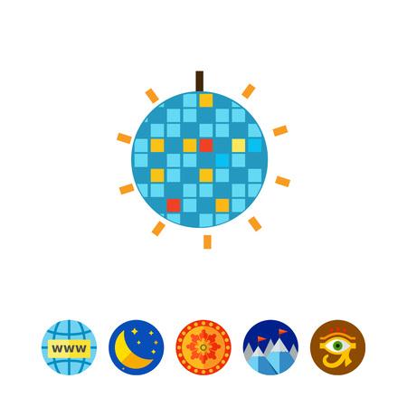 ceiling: Shiny disco ball icon Illustration