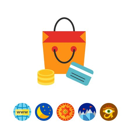 Cashless: Shopping icon Illustration
