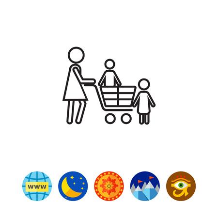 mujer en el supermercado: Shopping with children