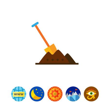 heap: Shovel in heap of soil