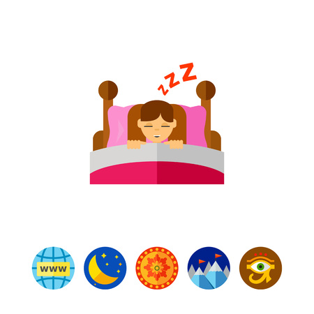 asleep: Sleeping Girl Icon.