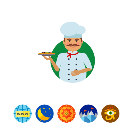 A Smiling male chef with pizza. Illustration