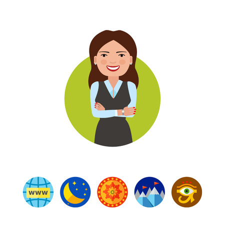 A Smiling businesswoman with hands crossed. Illustration