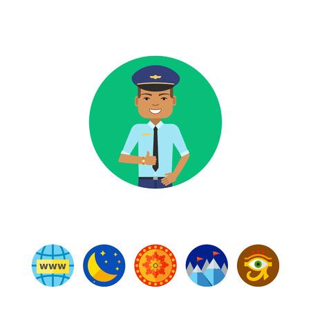 belt up: Smiling pilot portrait vector illustration
