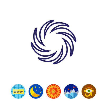 predict: Icon of sun with swirl beams