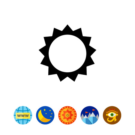 Icon of stylized sun with beams Illustration