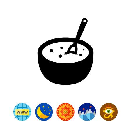 carbohydrates: Porridge bowl with spoon