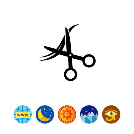 haircutting: Scissors and Hair as Haircut Concept Icon