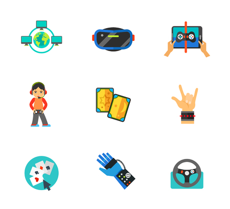 Computer games icon set. Global Game Network Virtual Reality Glasses Playing Game On Touchpad Gamer Tarot Cards Hand Sign Rock-n-Roll Playing Poker Online Power Glove Game Steering Wheel Illustration
