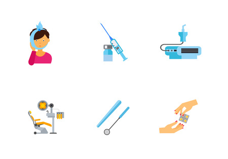preventive: Dentistry icon set. Toothache Syringe And Ampule Nebulizer Device Dentist Chair Dental Tool Medicine Pills In Blister
