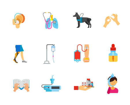 Disability and healthcare icon set