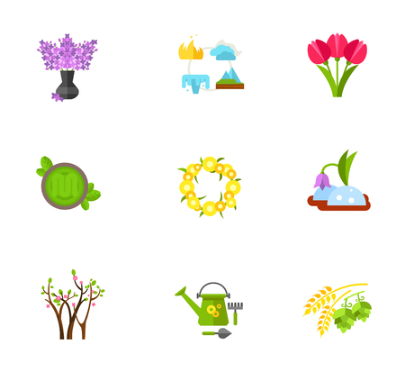 Flowers icon set. Lilac Bouquet Pink Tulips Dandelions Wreath Snowdrop Trees Blossoming Garden Tools Hops And Malt Contain bonus icons. Four Elements Of Life Green Pesto Sauce