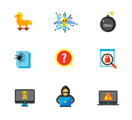 ddos: Hackers icon set Illustration