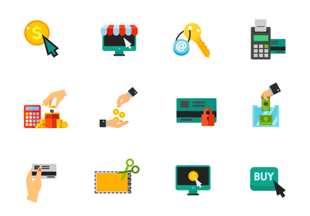 cashless payment: Shopping and sales icon set. Pay per click Online marketplace Email key Cashless payment Saving money Giving money Secure payment Donation Discount card Discount coupon Electronic payment Buy action Illustration
