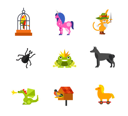 miraculous: Magic animals icon set. Talking Parrot Unicorn Puss In Boots Beetle Frog Princess Dog Dragon Birdhouse and Bird Trojan Horse