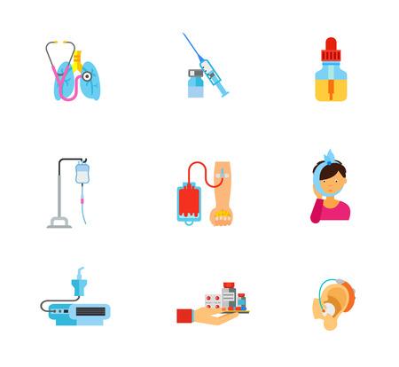 Conjunto de iconos de medicina. Estetoscopio con pulmones Jeringa y ampolla Botella de aceite esencial Caída Contador Donación de sangre Dolor de muelas Nebulizador dispositivo Mano con medicina Audífono Ilustración de vector