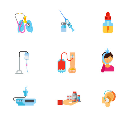 Medicine icon set. Stethoscope With Lungs Syringe And Ampule Essential Oil Bottle Drop Counter Blood Donation Toothache Nebulizer Device Hand With Medicine Hearing Aid Illustration
