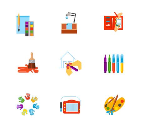 Tekening icon set bevat bonus vector Persoonlijke organizer. Aquarelle-album Tabel voor zandtekening Brush Pen Markers Handtekening Paintboard Schildergereedschap