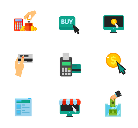 cashless payment: Shopping icon set