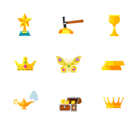 oil lamp: Gems and gold icon set