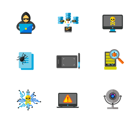 Hackers and data center icon set