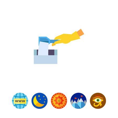 Putting Washing Powder into Washer Icon Illustration