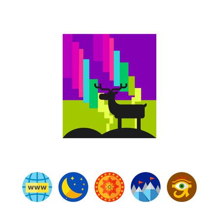 polaris: Northern Lights and Reindeer Icon