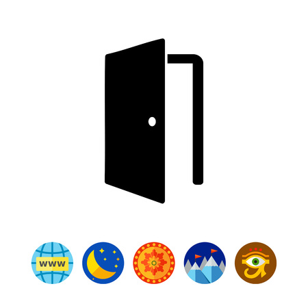 simple frame: Monochrome vector icon of open door with knob