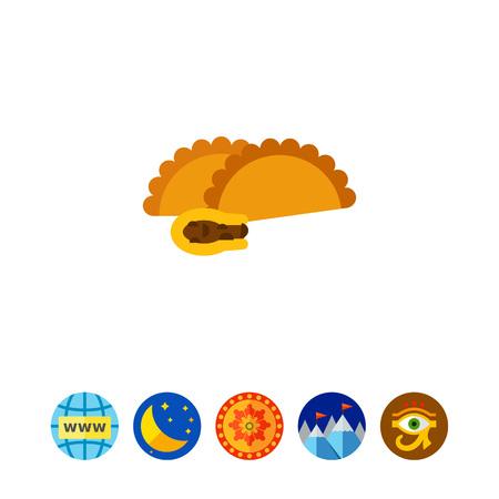 Empanada con la carne vector icono Ilustración de vector