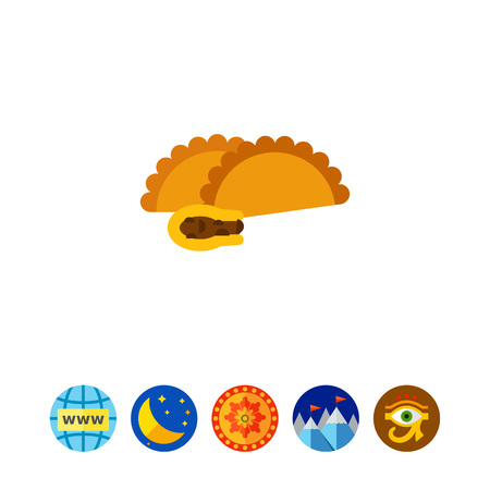 Empanada with meat vector icon Illustration