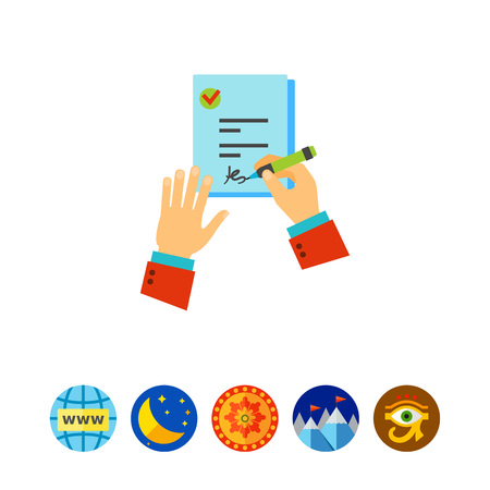 Employer signing job contract icon
