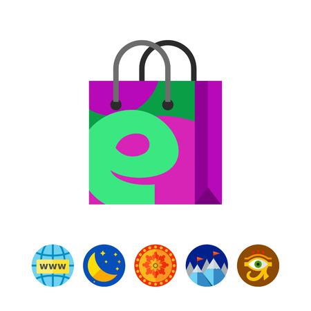 E Letter on Shopping Bag Icon