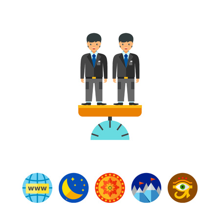 equal opportunity: Vector icon of two businessmen standing on scales. Equal opportunity, business equality, healthy competition. Competition concept. Can be used for topics like business, recruitment, career Illustration