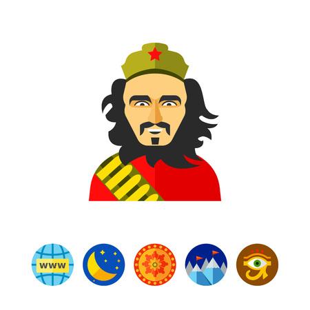 Icono de sonriente Ernesto Che Guevara. Héroe nacional de Cuba, rebelión, libertad. Concepto revolucionario cubano. Se puede utilizar para temas como revolución, política o gente famosa