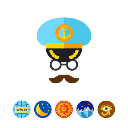admiral: Icon of captain face. Navigation, seaman, seafarer. Occupation concept. Can be used for topics like cruise, navy, traveling Illustration