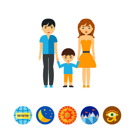 Vector icon of parents and son holding hands. Family therapy, human society, healthy family. People and psychoanalysis concept. Can be used for topics like psychology, society, family health