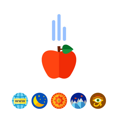Icon of falling red apple. Science, insight, gravity. Physics concept. Can be used for topics like education, experiment, fruit