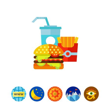 Icon of burger, fries and cold drink. Dinner set, appetite, diet. Fast food concept. Can be used for topics like menu, unhealthy eating, cafe