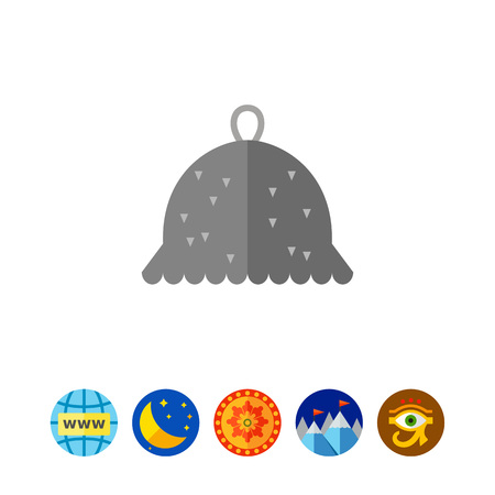 Icon of grey felt hat for sauna. Spa, hothouse, healthcare. Bath concept. Can be used for topics like Finnish traditions, sauna, alternative medicine