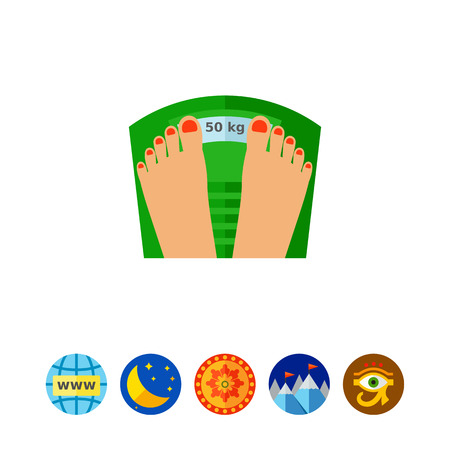 Female manicured feet on weight scale. Weight, weight loss, measuring. Fitness and weight concept. Can be used for topics like sport, dieting, self-improvement Illustration