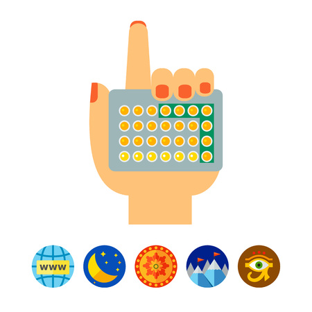 Female hand with contraceptive pills icon Illustration